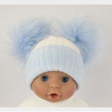 BW-0503-0607S: Baby Sky Double Pom-Pom Hat (One Size)