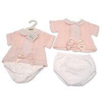 BW-10-003: Baby Girls Knitted 2 Piece Set With Bow & Lace (0-9 Months)