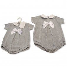 BW-10-028: Baby Grey Knitted Romper with Bow (0-9 Months)