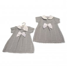 BW-10-029: Baby Grey Knitted Dress with Bow (0-9 Months)