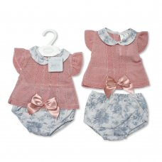 BW-10-065: Baby Girls Knitted 2 Piece Set With Bow (0-9 Months)