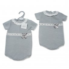 BW-10-080: Baby Grey Knitted Romper with Bow (0-9 Months)