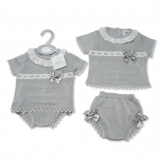 BW-10-081: Baby Grey Knitted 2 Piece Set With Bows (0-9 Months)