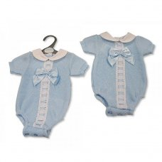 BW-10-093: Baby Boys Knitted Romper with Bow (NB-9 Months)