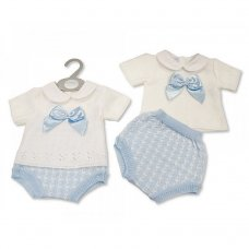 BW-10-094: Baby Boys Knitted 2 Piece Set with Bow (NB-9 Months)