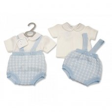 BW-10-096: Baby Boys Knitted 2 Piece Set with Suspenders (NB-9 Months)