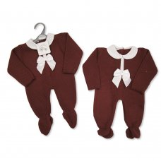 BW-10-1000: Baby Knitted All in One with Bow and Lace- Wine (NB-9 Months)