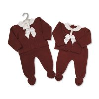 BW-10-1001: Baby Knitted 2 Piece Set with Bow and Lace- Wine (NB-9 Months)