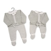 BW-10-1008: Baby Knitted 2 Piece Set with Bow and Lace (NB-9 Months)