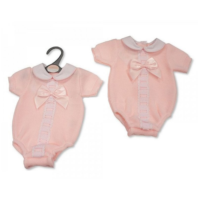 BW-10-103: Baby Girls Knitted Romper with Bow (NB-9 Months)