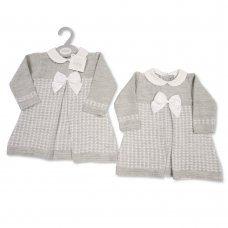 BW-10-1033: Baby Grey Knitted Dress with Bow (0-9 Months)
