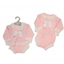 BW-10-1037: Baby Knitted 2 Piece Set with Bow (NB-9 Months)