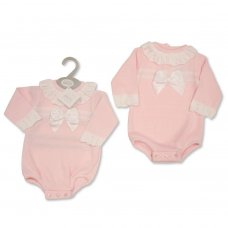 BW-10-1038: Baby Girls Knitted Romper with Bow (NB-9 Months)