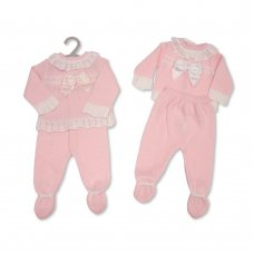 BW-10-1039: Baby Knitted 2 Piece Set with Bow (NB-9 Months)