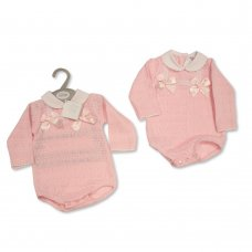 BW-10-1040: Baby Knitted Romper with Bows and Lace (NB-9 Months)