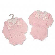 BW-10-1041: Baby Knitted 2 Piece Set with Bows and Lace (NB-9 Months)
