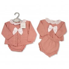 BW-10-1051: Baby Knitted 2 Piece Set with Bow and Lace (NB-9 Months)