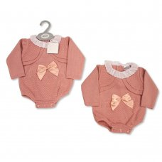 BW-10-1056: Baby Knitted Romper with Bow and Lace (NB-9 Months)