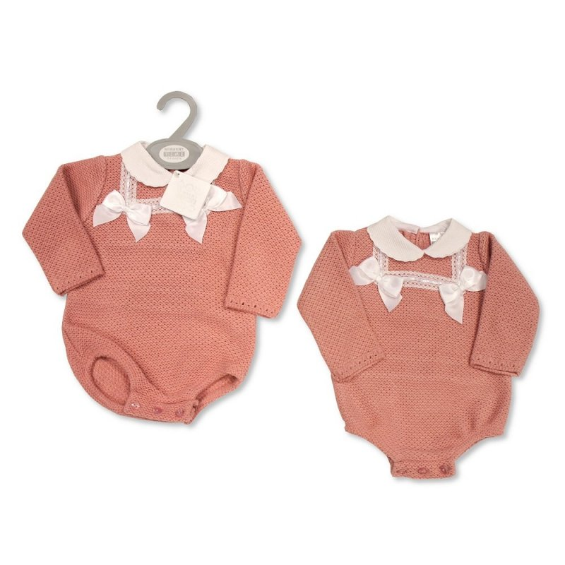 BW-10-1059: Baby Knitted Romper with Bows and Lace (NB-9 Months)