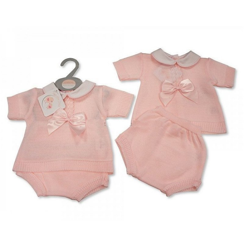 BW-10-106: Baby Girls Knitted 2 Piece Set with Bow (NB-9 Months)