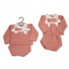 BW-10-1060: Baby Knitted 2 Piece Set with Bows and Lace (NB-9 Months)