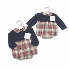 BW-10-1080: Knitted/Woven Baby Tartan Romper (NB-9 Months)