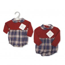 BW-10-1083: Knitted/Woven Baby Tartan Romper (NB-9 Months)