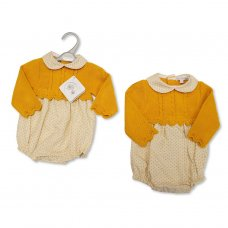 BW-10-1091: Baby Knitted & Woven Romper (NB-9 Months)