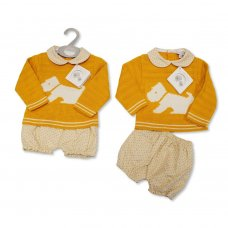 BW-10-1092: Knitted/Woven Baby 2 Piece Set (NB-9 Months)