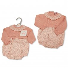 BW-10-1095: Baby Knitted & Woven Romper (NB-9 Months)
