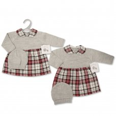 BW-10-1102: Baby Knitted Dress With Hat Outfit (NB-9 Months)