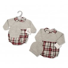 BW-10-1103: Baby Knitted Romper With Hat Outfit (NB-9 Months)