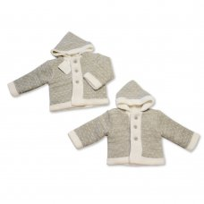 BW-10-637: Baby Grey Knitted Pram Coat (NB-9 Months)
