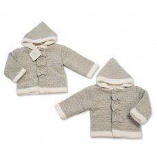BW-10-638: Baby Grey Knitted Pram Coat (NB-9 Months)