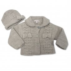 BW-10-640G: Baby Girls Knitted Pram Coat With Hat - Grey (NB-9 Months)