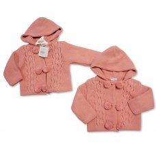 BW-10-641: Baby Girls Knitted Pram Coat (NB-9 Months)