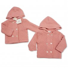 BW-10-642: Baby Girls Knitted Pram Coat (NB-9 Months)