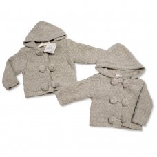 BW-10-647: Baby Grey Knitted Pram Coat (NB-9 Months)