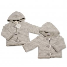 BW-10-648: Baby Grey Knitted Pram Coat (NB-9 Months)
