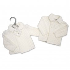 BW-10-792W: Baby Girls Chunky Knitted Jacket -White (NB-9 Months)