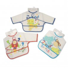 BW-104-802B: Baby Assorted Sleeved Clear PEVA Bibs - Boys