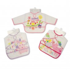 BW-104-802G: Baby Assorted Sleeved Clear PEVA Bibs - Girls