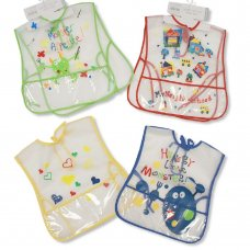 BW-104-803: Baby Large Tie-on Clear PEVA Apron-Bibs