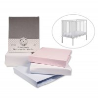 BW-111-229: Cotton Mini-Cot Sheets - Fitted - 2 Pack (50 x 100 CM)
