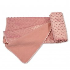 BW-112-1036DP: Baby Velour Bubble Wrap with Fleece Back and Satin Trim- Dusky Pink