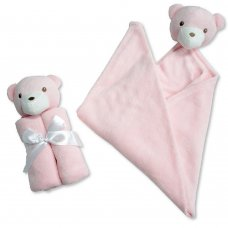 BW-112-1037P: Baby Wrap With Teddy Head- Pink