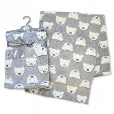 BW-112-988G: Baby Printed Teddy Wrap- Grey