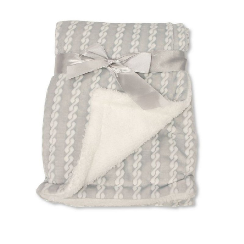 BW-112-1046G: Baby Grey Wrap with Zig-Zag Print and Sherpa Back - Double Layer