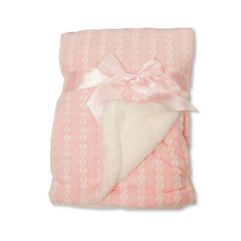 BW-112-1046P: Baby Pink Wrap with Zig-Zag Print and Sherpa Back - Double Layer