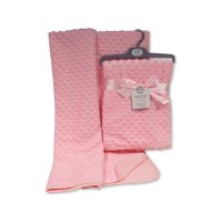 BW-112-943P: Baby Velour Bubble Wrap with Cotton Back- Pink